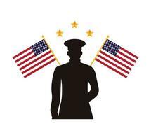 silueta de oficial militar con banderas de estados unidos vector