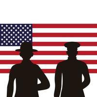 soldados, siluetas, figuras, en, estados unidos de américa, bandera vector