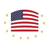 united states of america flag with stars around vector