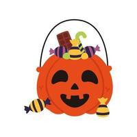 halloween pumpkin jack face with candies vector