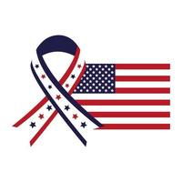 united states of america flag with ribbon campaign vector