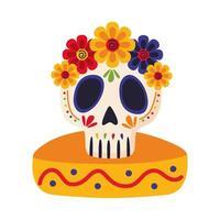 dia de los muertos calavera pintada con flor en sombrero mexicano vector