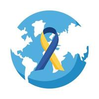 down syndrome campaign ribbon in earth planet flat style icon vector