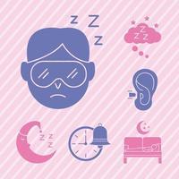 Hombre durmiendo con paquete de iconos de estilo de silueta de insomnio vector