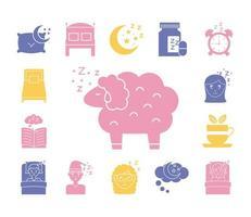 ovejas con paquete de iconos de estilo de silueta de insomnio vector