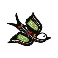 exótico pájaro mexicano volar icono de estilo plano vector