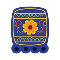 square garland celebration mexican with flower flat style icon vector