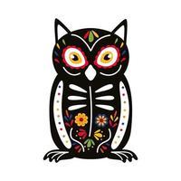 icono de estilo plano de pájaro búho mexicano exótico vector