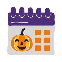 calendario de halloween con cara de calabaza estilo plano vector