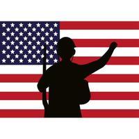 Soldado con figura de silueta de rifle y bandera de EE. vector