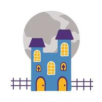 halloween dark castle flat style icon vector