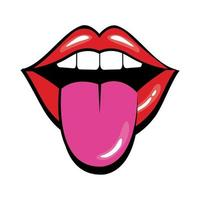 Pop art mouth with tongue out fill style vector