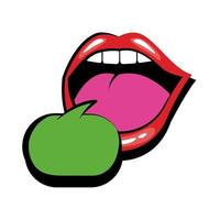 Pop art mouth speaking with speech bubble fill style icon vector