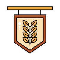 etiqueta con rama de cebada línea oktoberfest e icono de estilo de relleno vector
