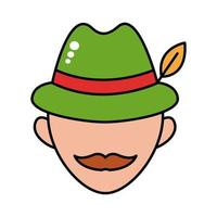 man wearing germany traditional hat accessory line and fill style icon vector