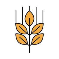 línea de oktoberfest de rama de cebada y estilo de relleno vector