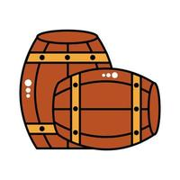 beer barrels wooden oktoberfest line and fill style icon vector