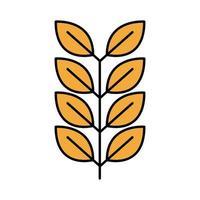 icono de estilo de relleno y línea de oktoberfest de rama de cebada vector