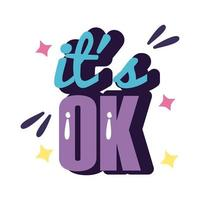 slang expresion its ok word line and fill style vector