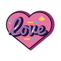 slang expresion love word in heart line and fill style vector