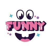 expresión de jerga palabra divertida con línea de cara y estilo de relleno vector