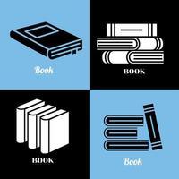 books silhouette style symbol set vector design
