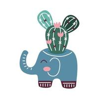 house plant in pot with elephant scandinavian style vector