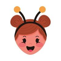 little girl with bee disguise head character vector