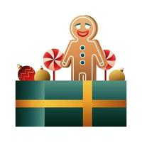 little ginger cookie and christmas balls in gift vector