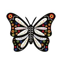 butterfly with mexican culture decoration flat style icon vector