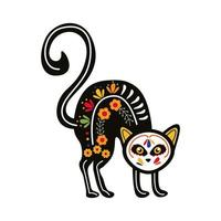 cat with mexican culture decoration flat style icon vector