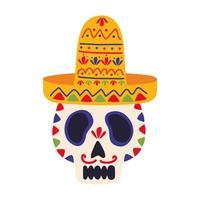 dia de los muertos calavera pintada con sombrero mexicano vector