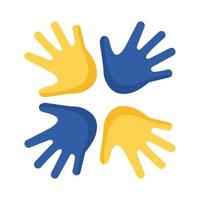 manos de síndrome de down alrededor de icono de estilo plano vector