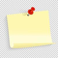 Colored empty paper note sticker with red pin for office text or business messages vector