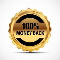 Vector Money Back Guarantee Gold Sign Label
