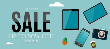 Sale electronics banner background vector