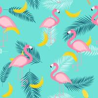 Beautiful Summer Seamless Pattern Background with Palm Tree Leaves Silhouette and Bananas vector