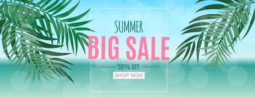 Fondo abstracto de venta de verano con hojas de palma vector
