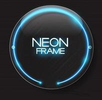 Abstract Neon Frame Template on Dark Background Vector Illustration
