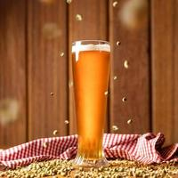 Beer glass with flying malted barley photo