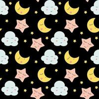 lindo, nubes, estrellas y lunas, seamless, patrón, plano de fondo vector