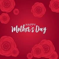 Happy Mother's day greeting card with Paper Origami Flowers background vector