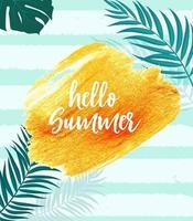 Hello Summer Gold Paint Glittering Textured Art Illustration vector