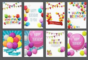 Happy Birthday Holiday Greeting and Invitation Card Template Set with Balloons and Flags vector