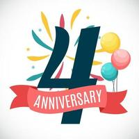 Anniversary 4 Years Template with Ribbon Vector Illustration