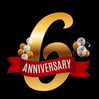 Golden 6 Years Anniversary Template with Red Ribbon Vector Illustration