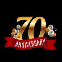 Golden 70 Years Anniversary Template with Red Ribbon Vector Illustration
