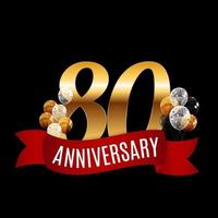 Golden 80 Years Anniversary Template with Red Ribbon Vector Illustration