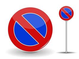 Prohibiting parking Red and Blue Road Sign vector