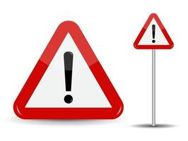 Warning Road Sign Red Triangle with Exclamation Point vector